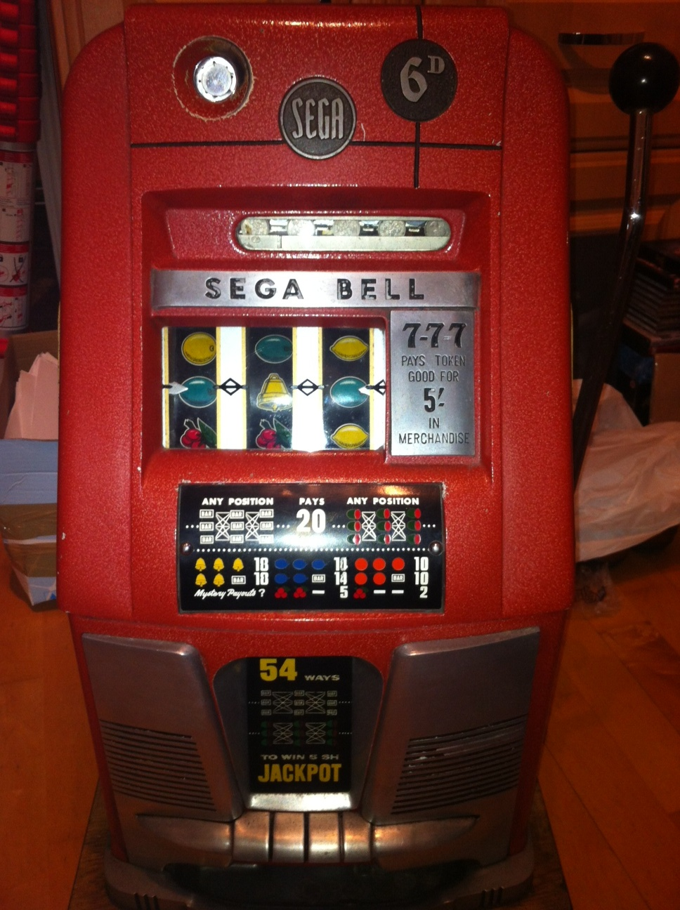 Sega Bell 6 p U.K. model with Gold Award and 54 way awards.JPG